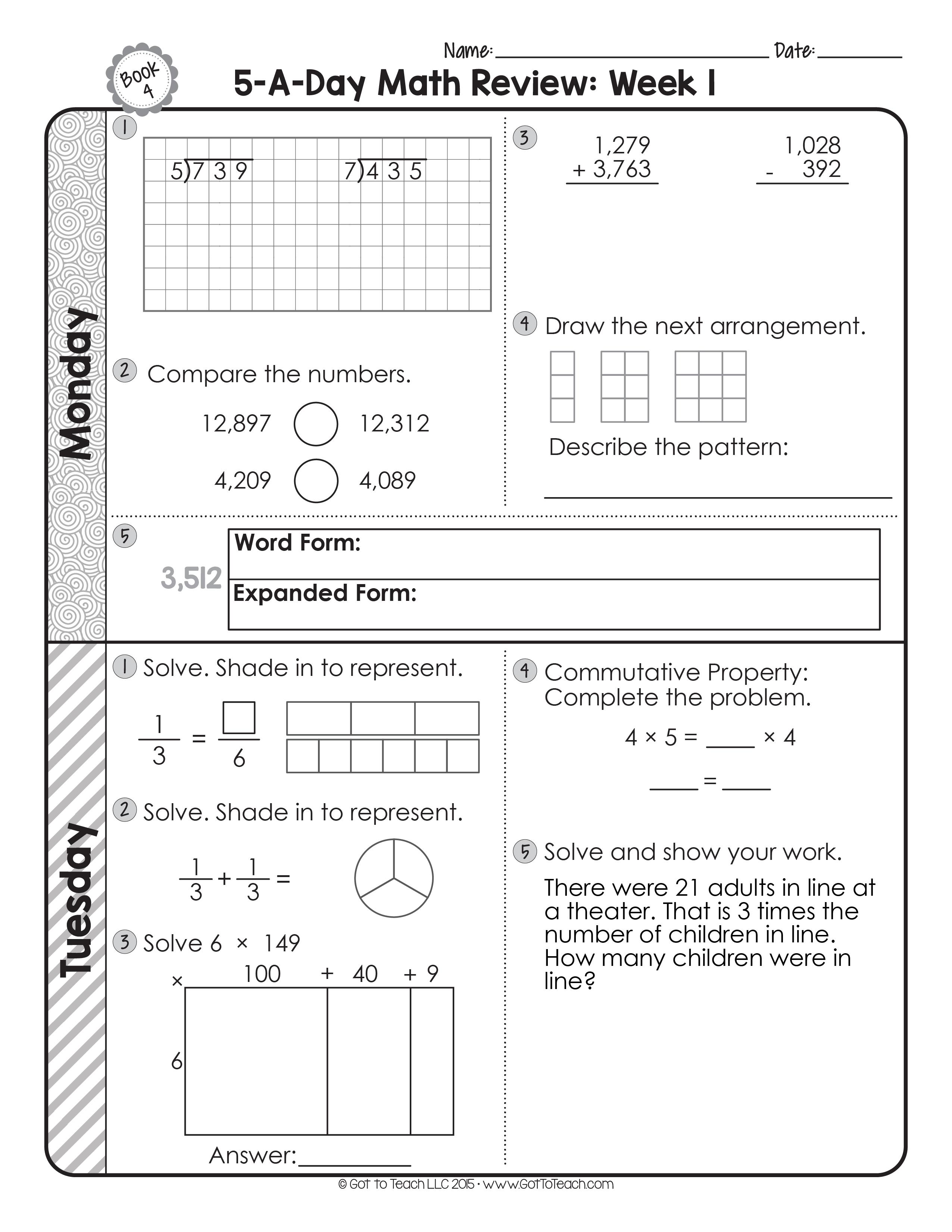 4th Grade Daily Math Spiral Review • Teacher Thrive   Math spiral review [ 3301 x 2551 Pixel ]