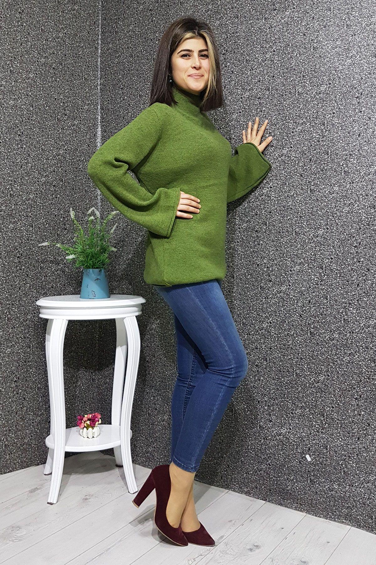 Dik Yaka Triko Bayan Salas Kazak Kadin Giyim Moda Stilleri Triko