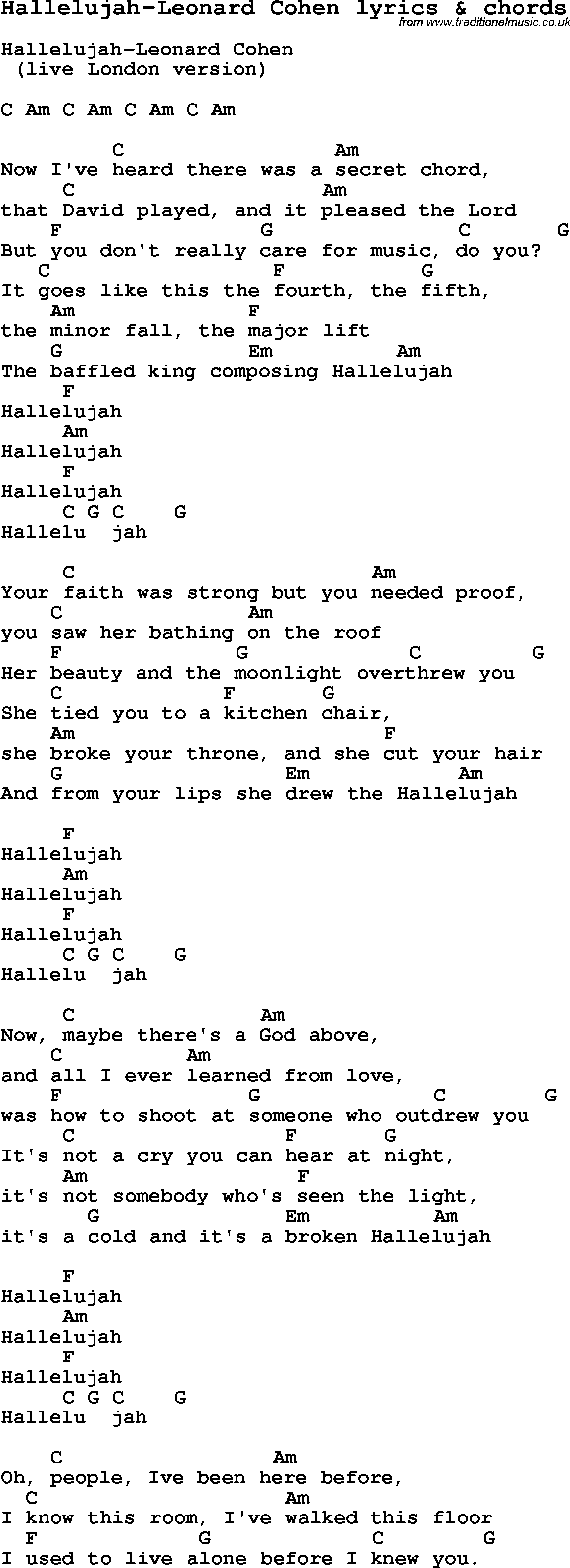 Love Song Lyrics For Hallelujah Leonard Cohen With Chords