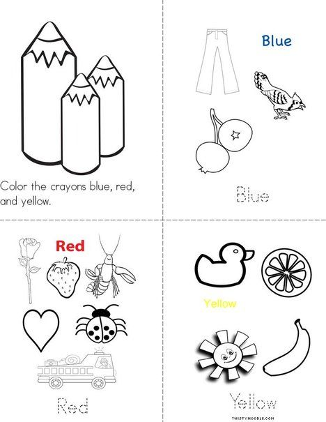 Blue Red And Yellow Mini Book Preschool Colors Mini Books Color Activities