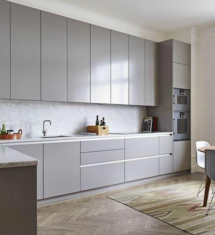 cocinas-rojas-diseño-moderno-decoración-en-gris-hornos-integrados - Imagenes De Cocinas
