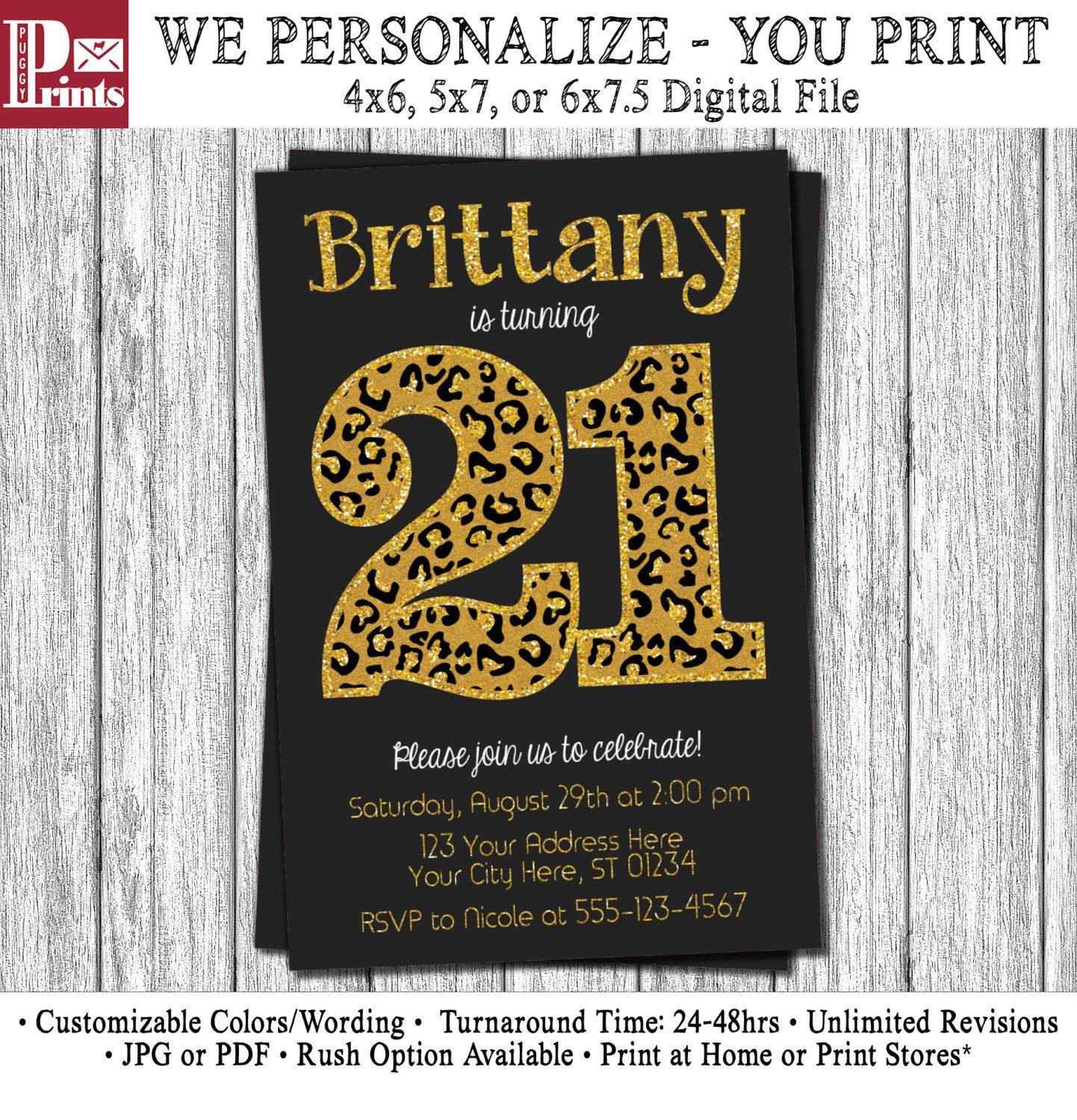 21st Birthday Invitation - Black and Gold Twenty-first Birthday ...
