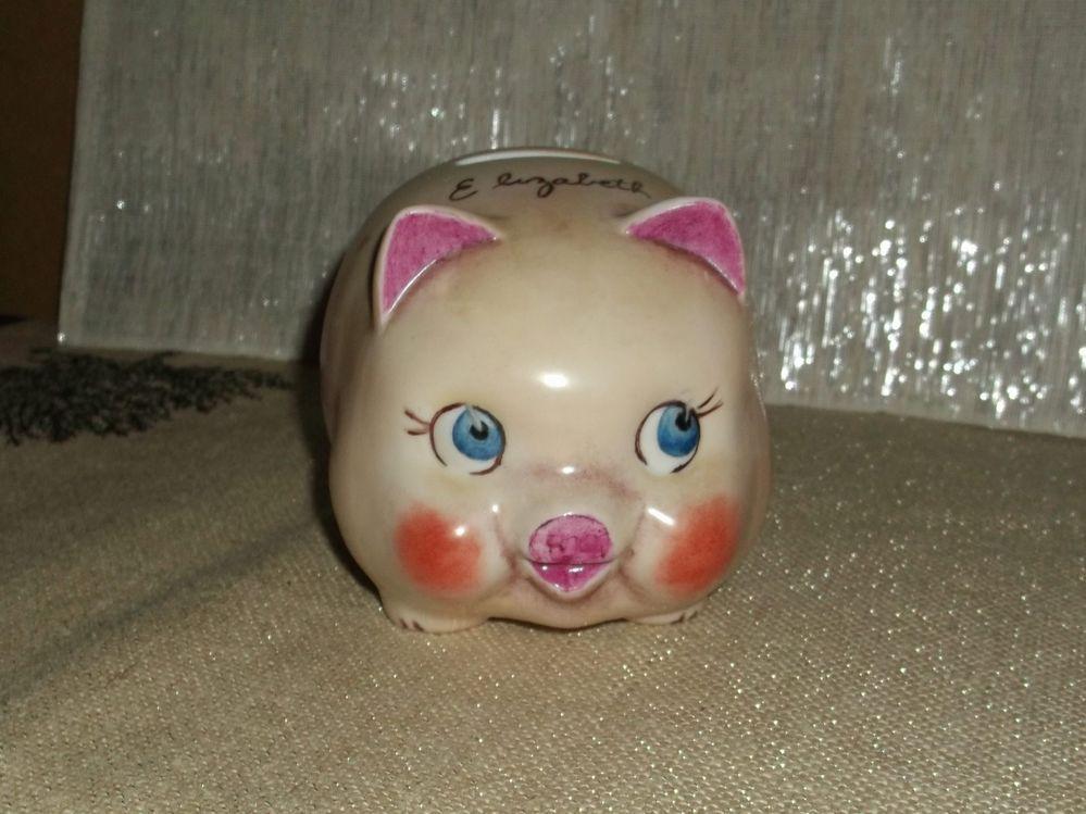 Vintage 1973 Elizabeth Personalized Porcelain Ceramic Pig Piggy Bank Gentle Use  $39.99 Ebay for sale