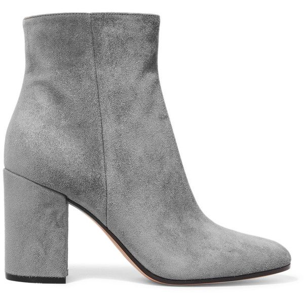 Gianvito Rossi Suede ankle boots ($800) ❤ liked on Polyvore featuring shoes, boots, ankle booties, ankle boots, botas, chunky heel bootie, chunky heel boots, gray suede booties and grey booties