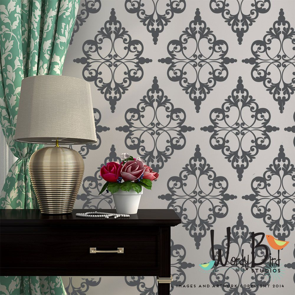Damask Pattern Vinyl Wall Decal - pattern pack set of 24 & Damask Pattern Vinyl Wall Decal - pattern pack set of 24 | Vinyl ...