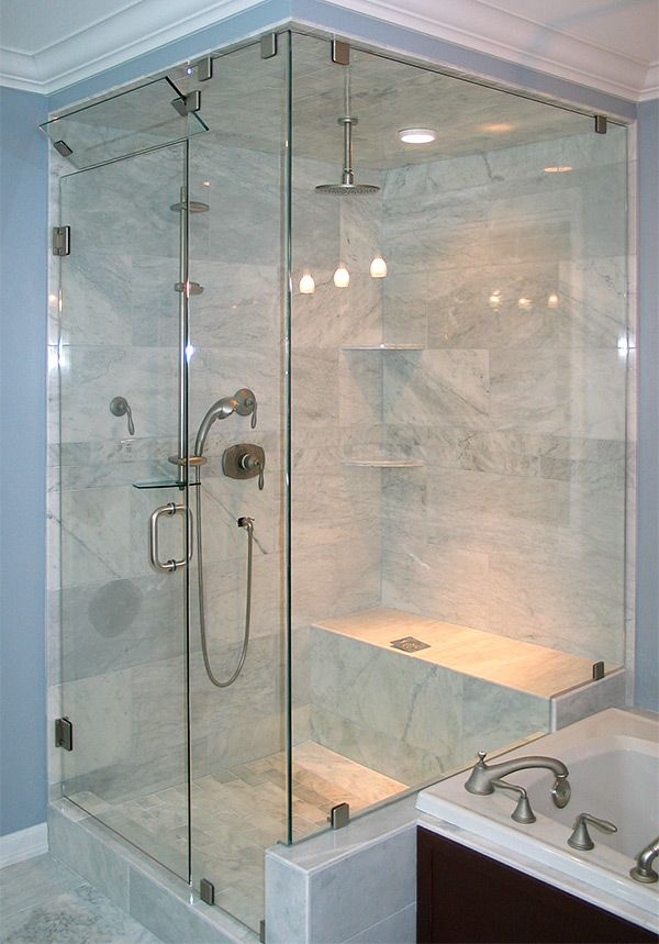 Bathroom Knee Wall showerhouse | shower with knee wall | parmbelle | pinterest