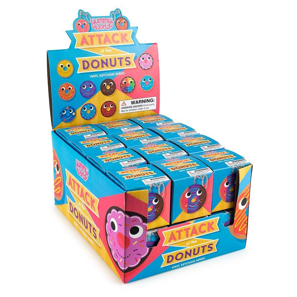 Kidrobot YUMMY WORLD ATTACK OF THE DONUTS Keychain Series BLUE FROSTED DONUT