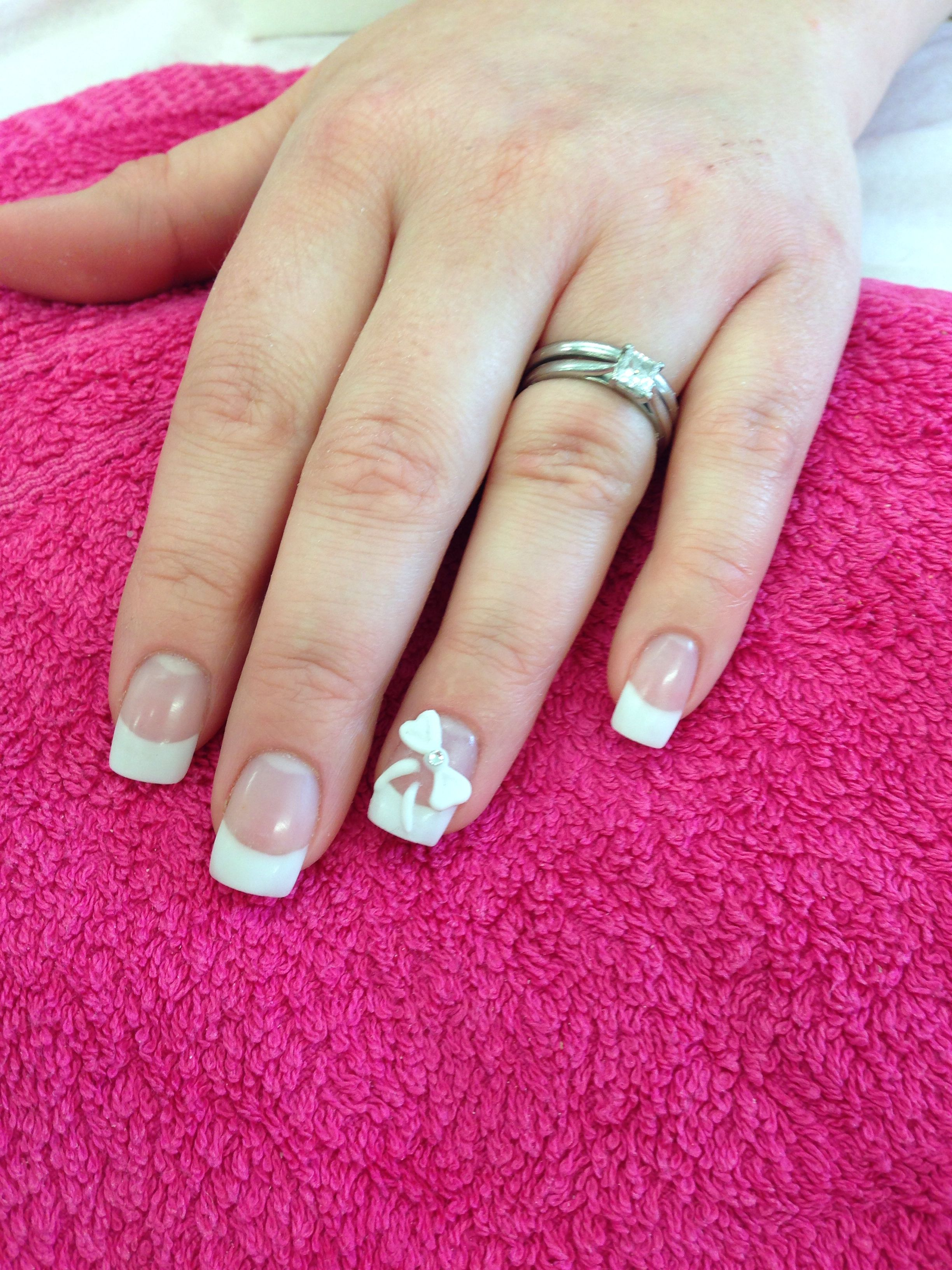 Acrylic French With Freehand 3d Nail Art Little Finger Sculpted