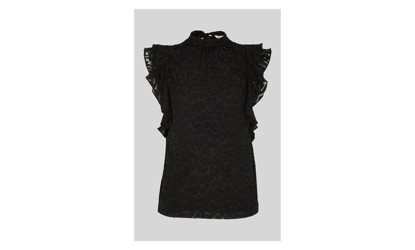 05dc7def403 Whistling Shop Best Prices | Black Animal Devore Frill Top 5053867495149  Online Sale
