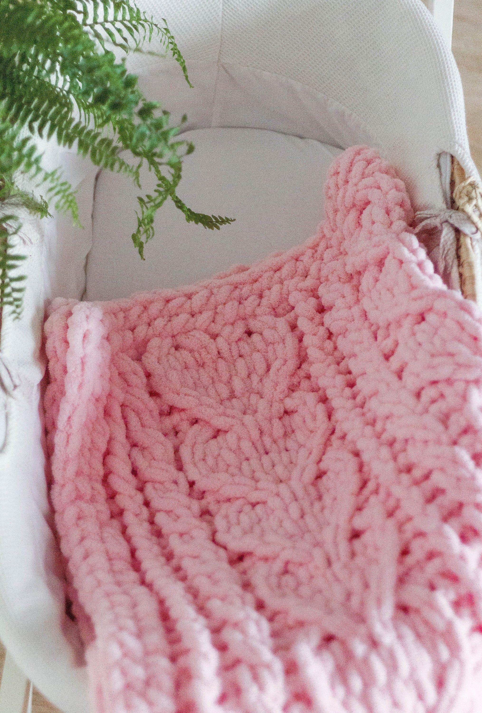 Photo of Knitted Baby Blanket, Alize Puffy Blanket, Pink Knit Blanket, Heart Motif Toddler Blanket, Christmas Gift Idea for Kids, Baby Girl Blanket
