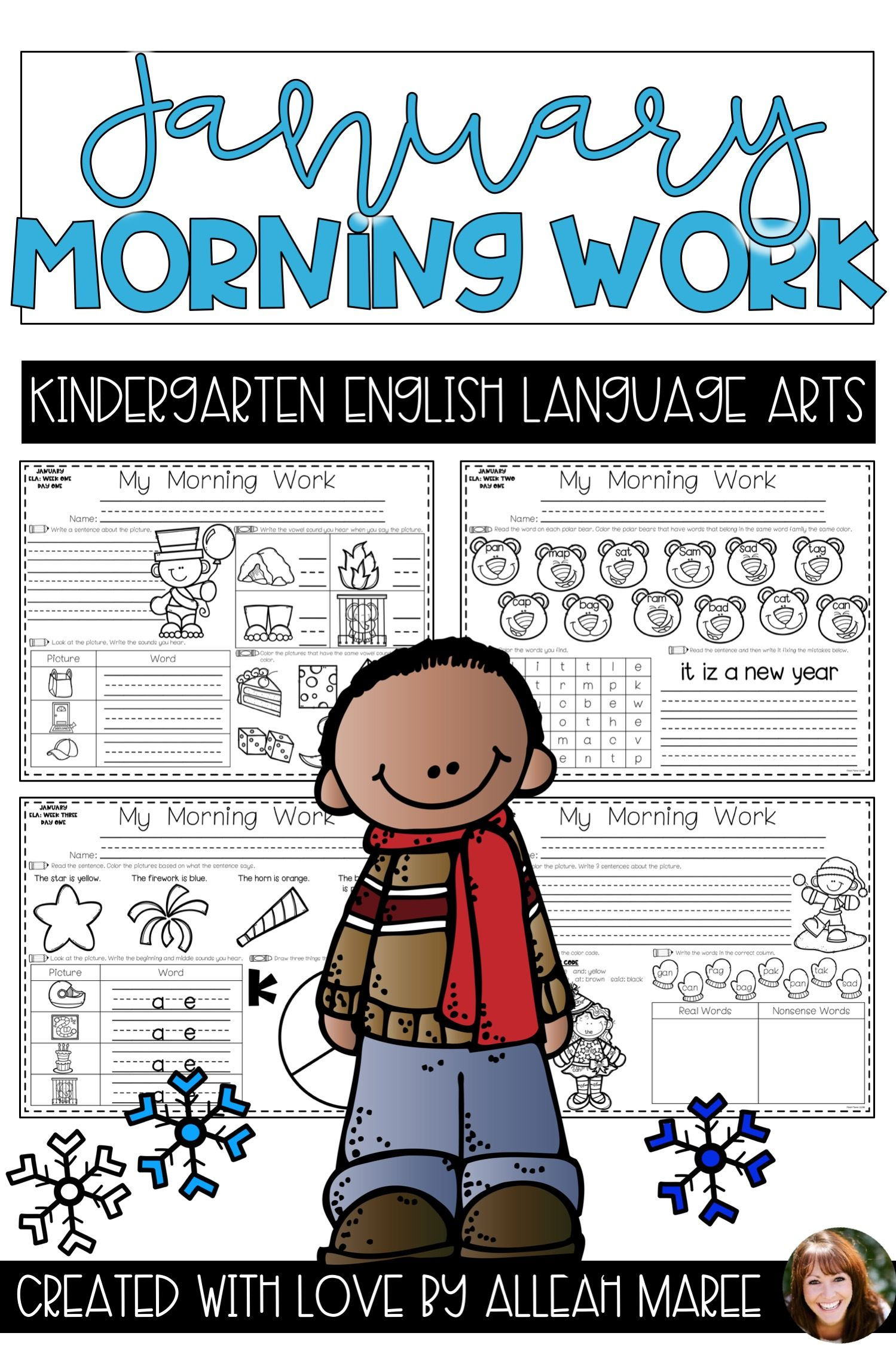 Kindergarten Literacy Morning Work Sub Plan Worksheets For