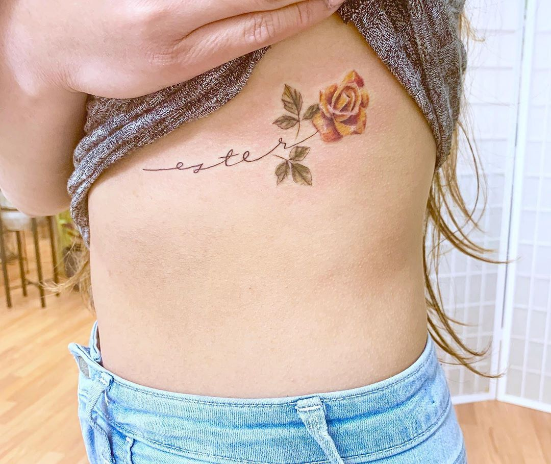Mhxbones On Instagram Delicate Yellow Rose And Script For Vanessa Floraltattoo Flowertattoo R In 2020 Yellow Rose Tattoos Small Rose Tattoo Yellow Flower Tattoos