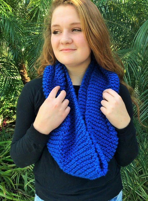 Handmade Knit Infinity Loop Scarf // Royal Blue // Lauren ...
