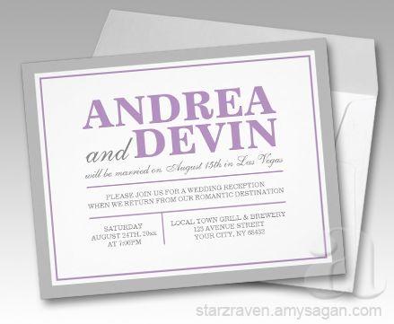Gray Purple Wedding Reception ONLY Invitations