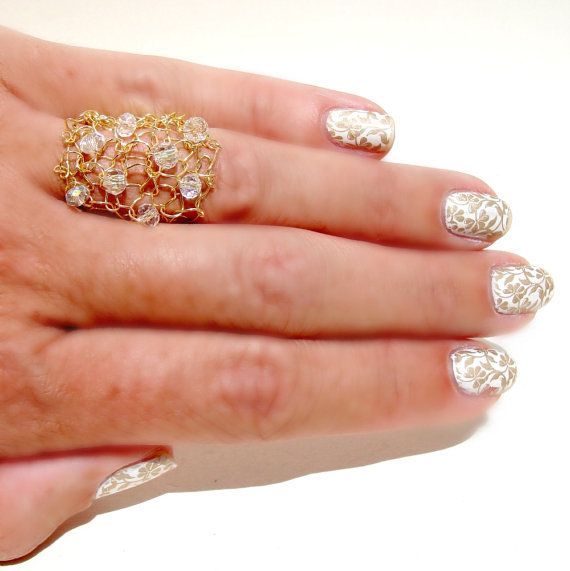 Big Gold Ring Crystal Bling Wire Knit Jewelry by lapisbeach
