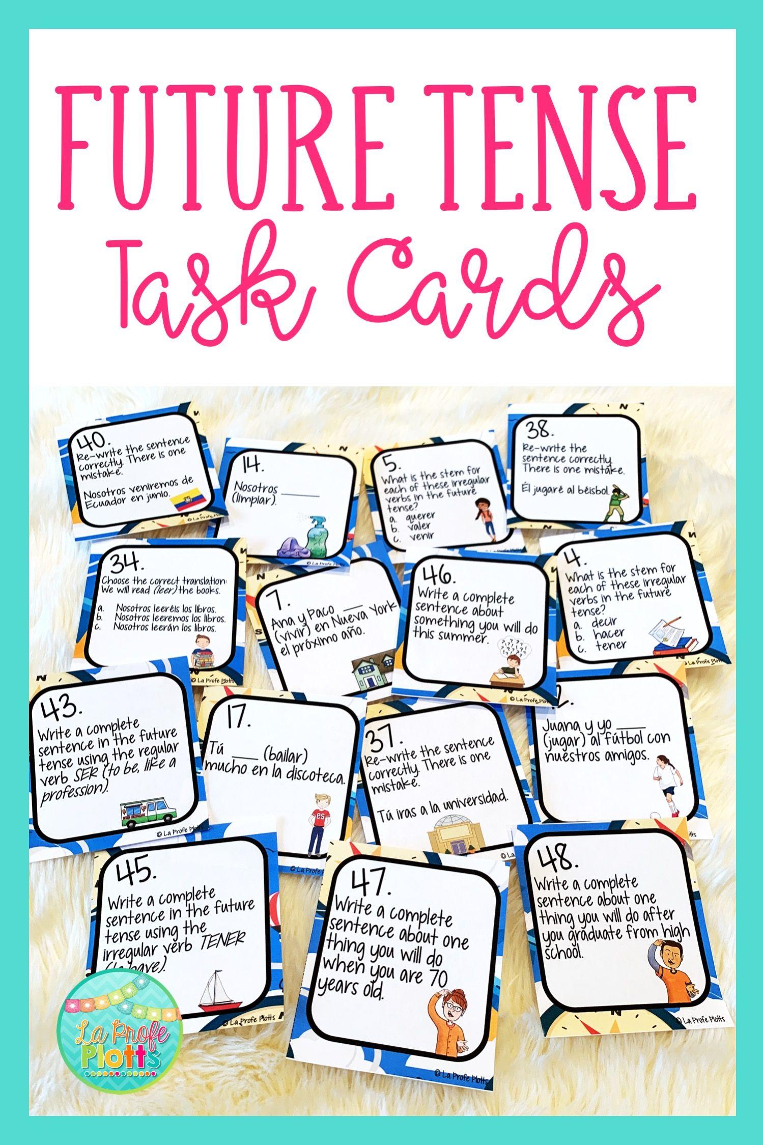 48 Spanish Future Tense Task Cards Regular And Irregular