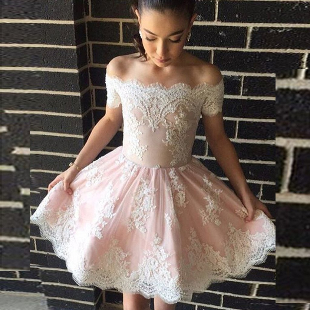 0604a88461e A-Line Off-the-Shoulder White Appliques Short Lovely Pink Homecoming Dress