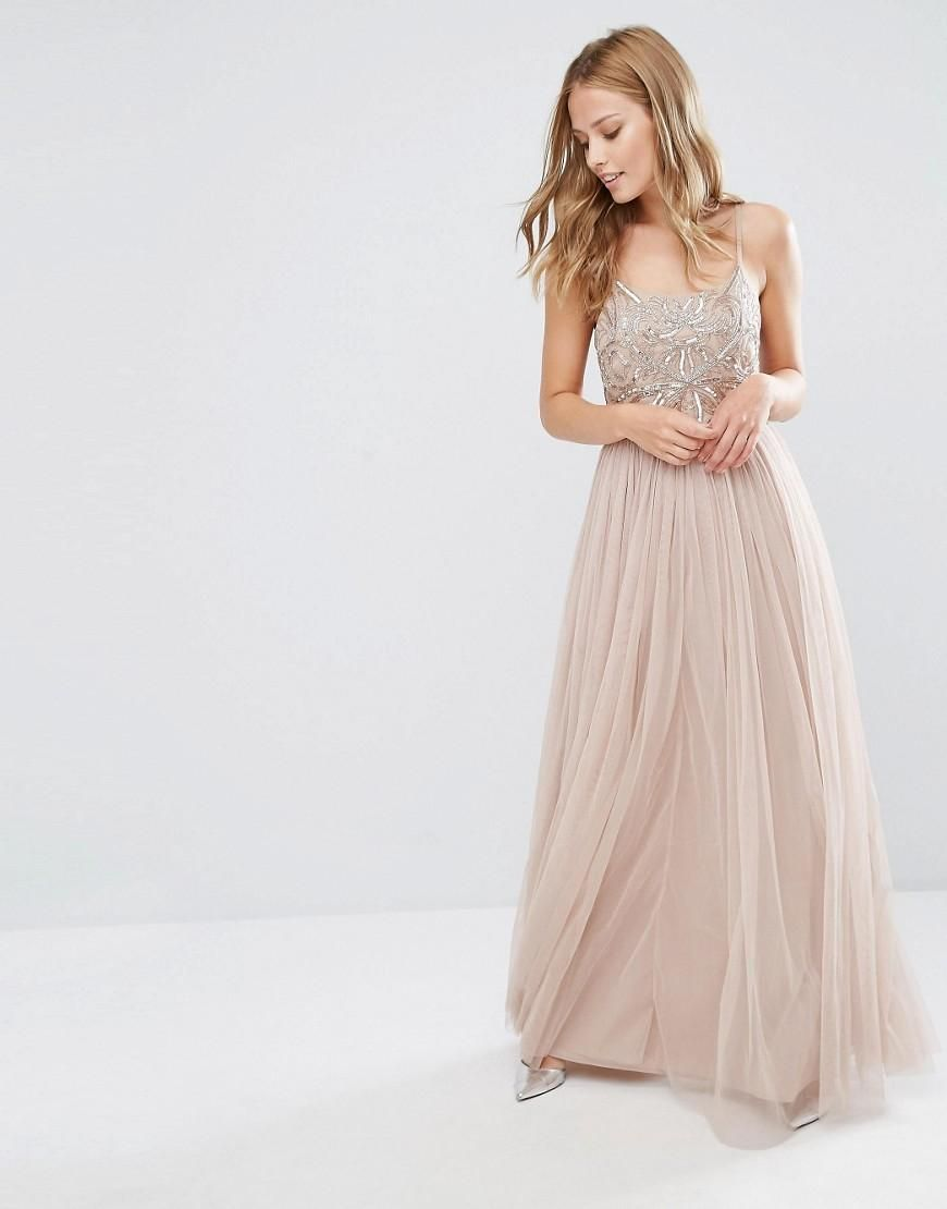 f2c2f5567f047 Maya | Maya Cami Strap Maxi Dress with Tulle Skirt and Embellishment at ASOS