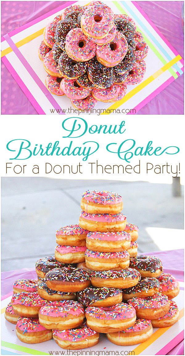 Donut Birthday Cake- What a fun and simple theme for a kid's birthday party! #donutcake
