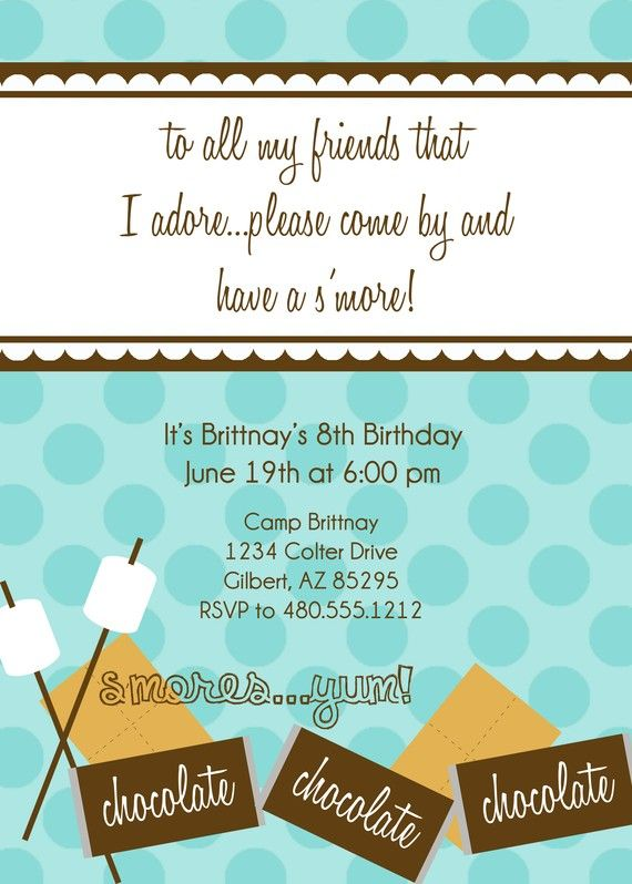 Smores Camping Glamping Printable Party by PetitePartyStudio, $1500 - fresh birthday party invitation designs