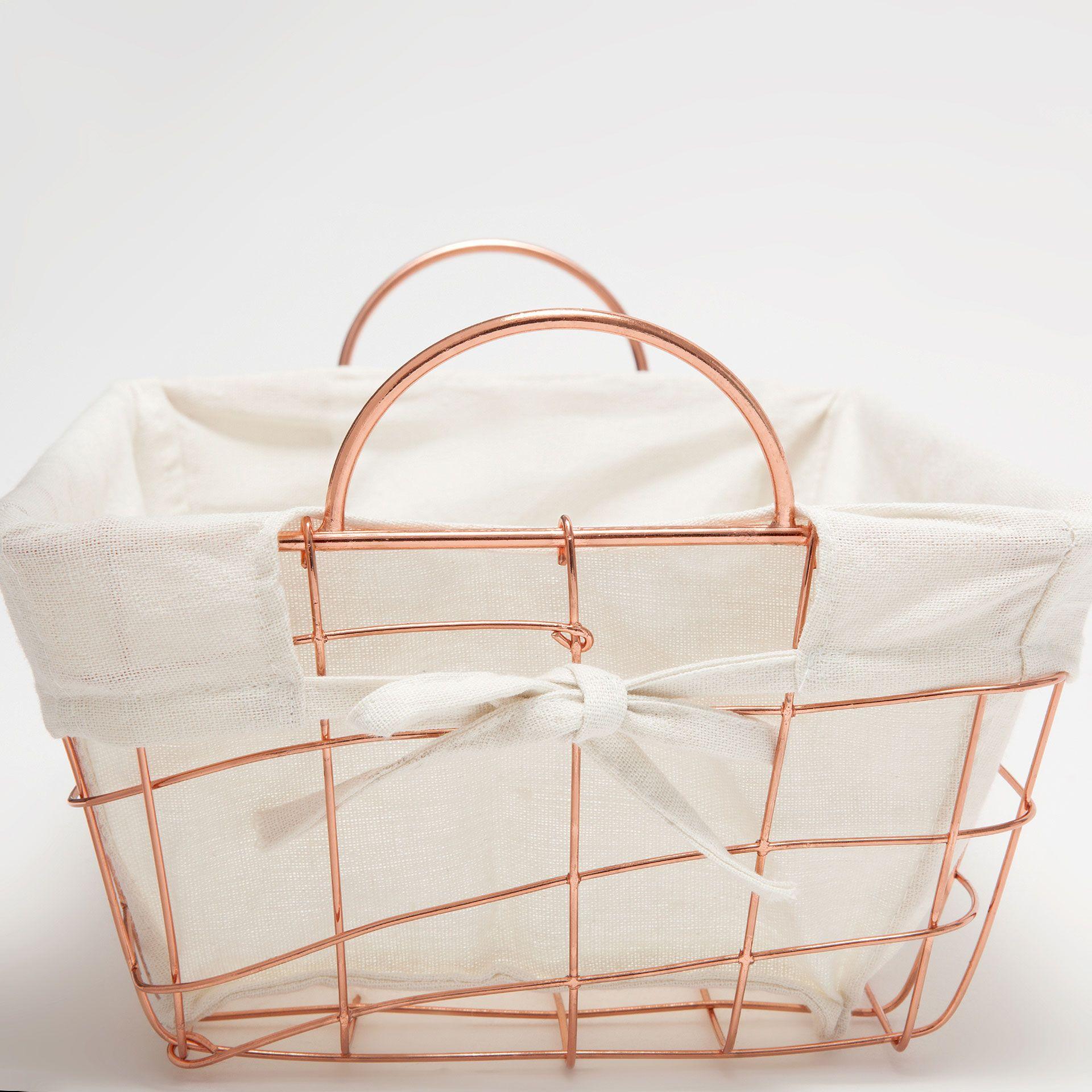 Pink Rectangular Metallic Basket
