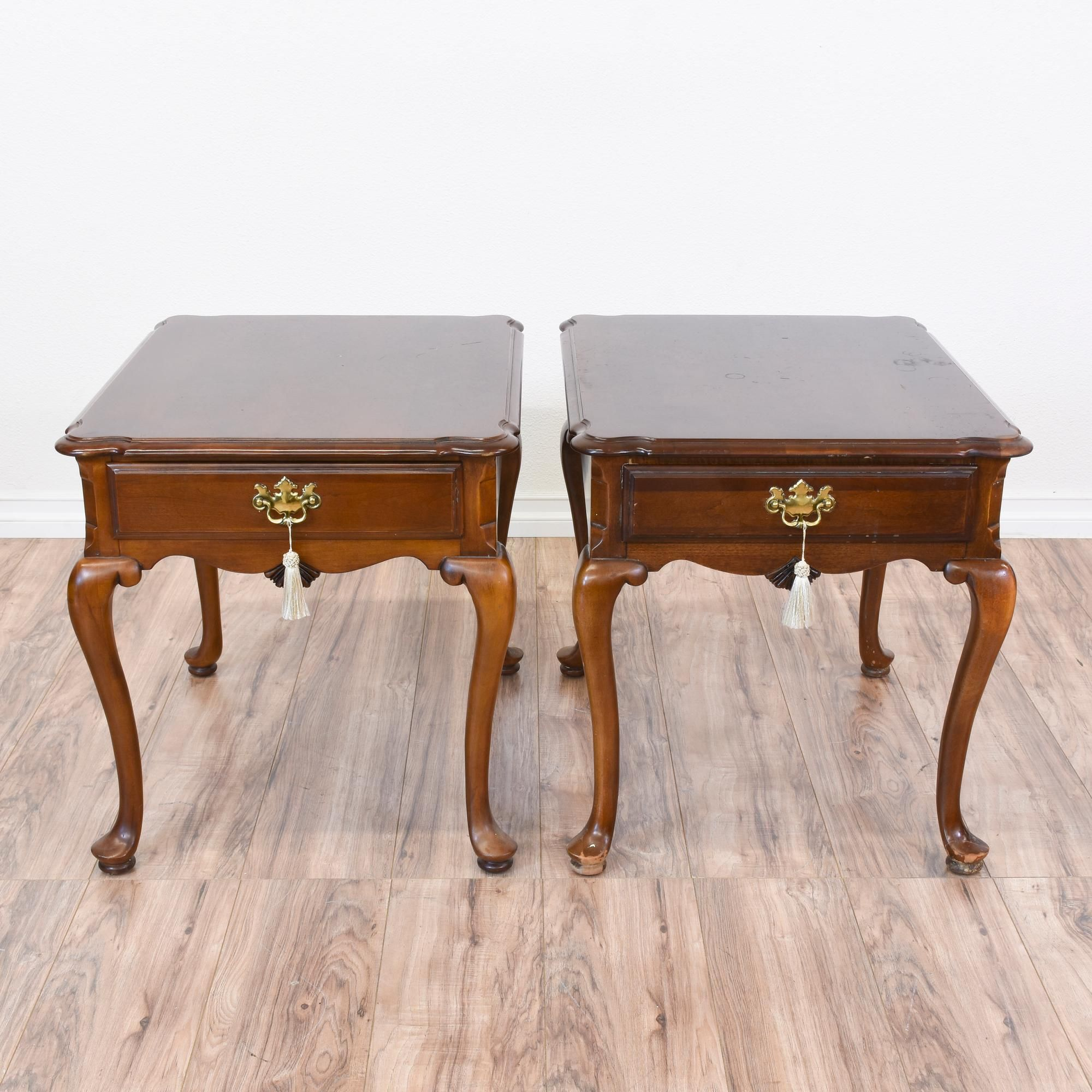 pair of queen anne cherry end tables | queen anne, brass handles