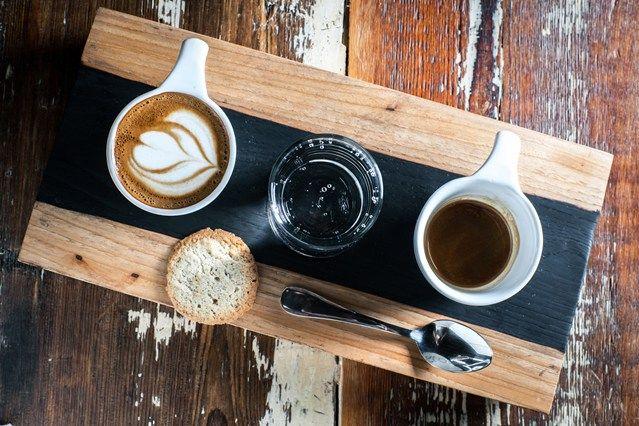 coffee flight idea, sparkling water, espresso and a macchiato, or breve if we feel fancy ;)