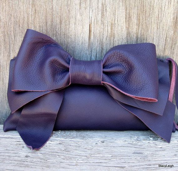 Leather Bow Clutch in Deep Eggplant Purple