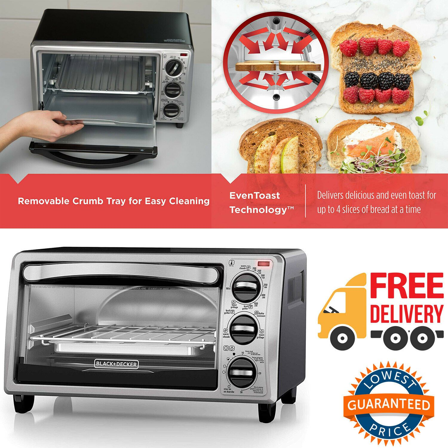 Toaster Oven 4 Slice Removable Crumb Tray 4 Functions Stainless Steel Toaster Toasters Ideas Of Toasters Toa Toaster Stainless Steel Toaster Toaster Oven