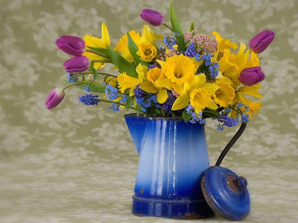 Обои стол, цветы, синие, серверовка. Цветы foto 11