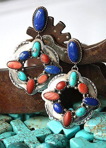 Jewelry :: Earrings :: TULLY SAM STERLING MULT-STONE EARRINGS! - Native American Jewelry|Ladies Western Wear|Double D Ranch|Ladies Unique Hi...http://www.cowgirlkim.com/jewelry/earrings/tully-sam-sterling-mult-stone-earrings.html