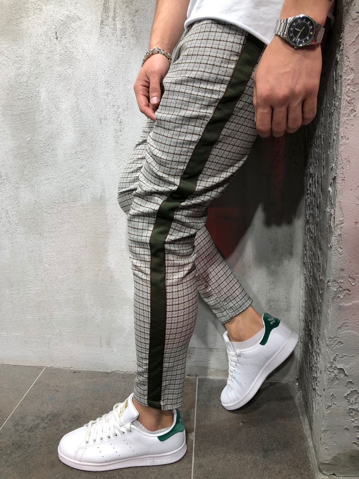 Men Casual Checkered Side Stripe Short Ankle Trousers