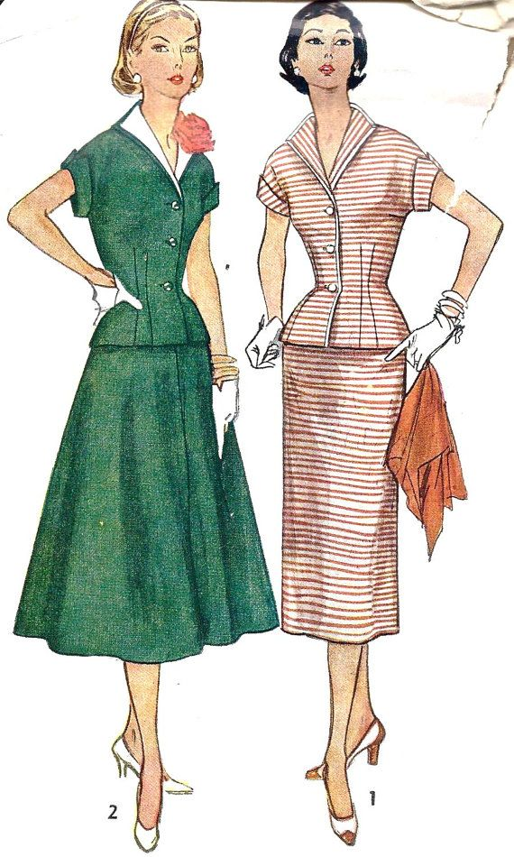1950s Misses Dress suit outfit jacket skirt green red white stripe full skirt pencil shoes hair button short sleeves