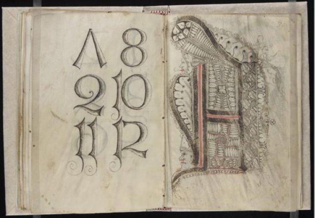 A model book for scribes by Gregorius Bock, ca. 1510-1517.
