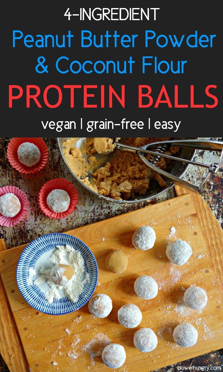 4 Ingredient Peanut Butter Coconut Flour Protein Balls Grainfree Vegan