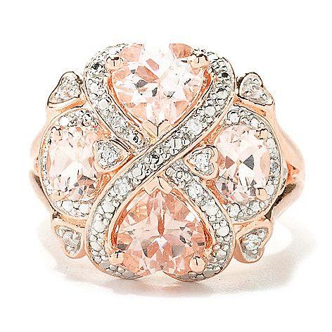 135-392 - NYC II™ 2.20ctw Morganite & White Zircon Interlocking Heart Ring