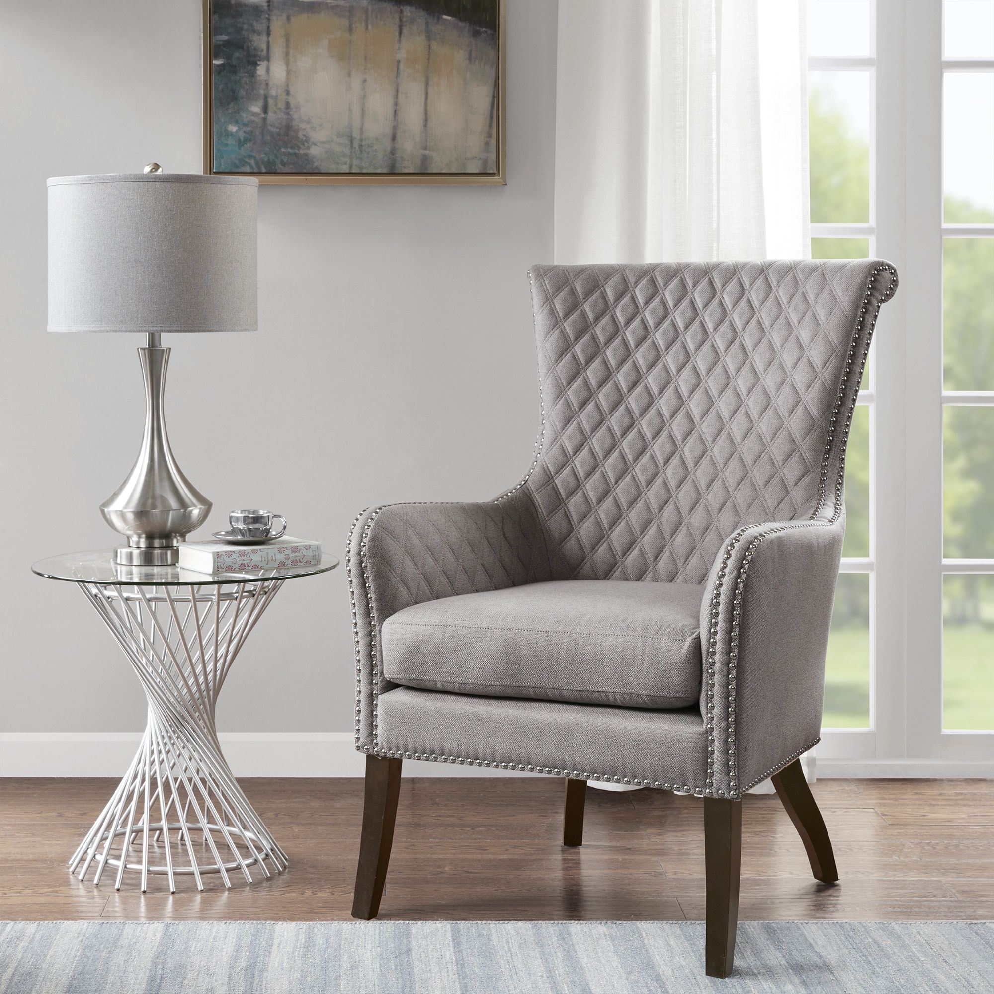 Madison Park Lea Light Grey Accent Chair 27 75w X 32 5 D X 41 33