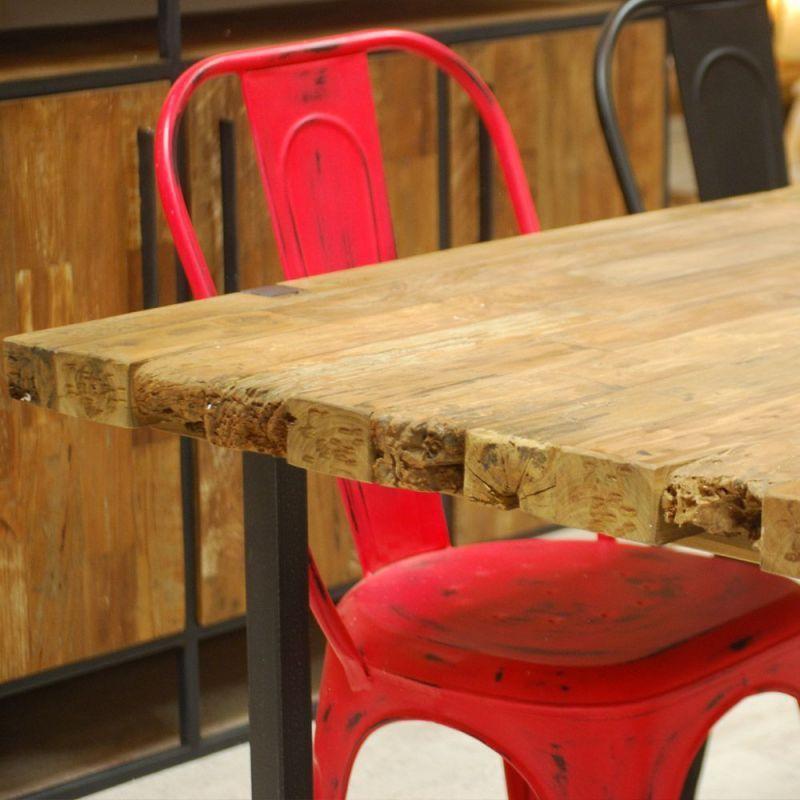 Table Design Bois Et Metal Rectangulaire Teck Massif 180cm Urban Table Design Bois Table Teck Meuble Bois Massif