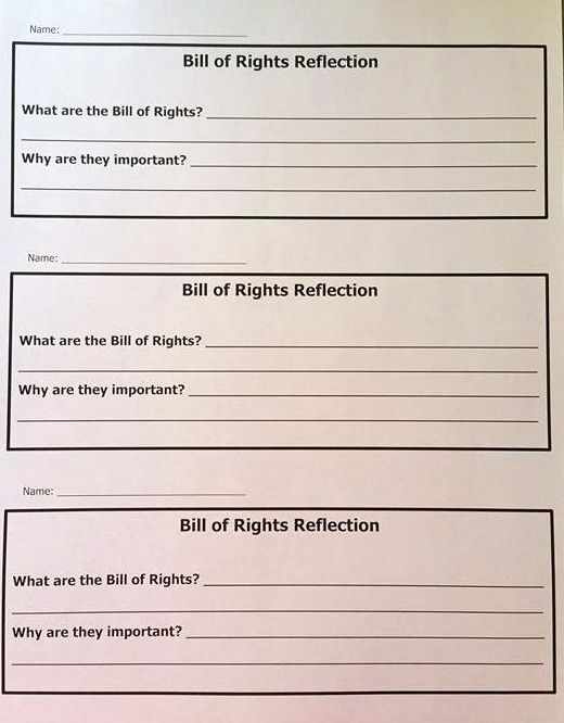 bill of rights reflection good for an exit slip