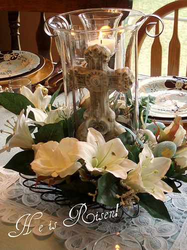 Easter Centerpiece - Hurricaine glass upstairs in storage and going to Hobby Lobby today to find rest of it items!