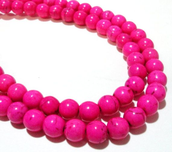 available in two sizes Smooth Round Shape Hot Pink Howlite