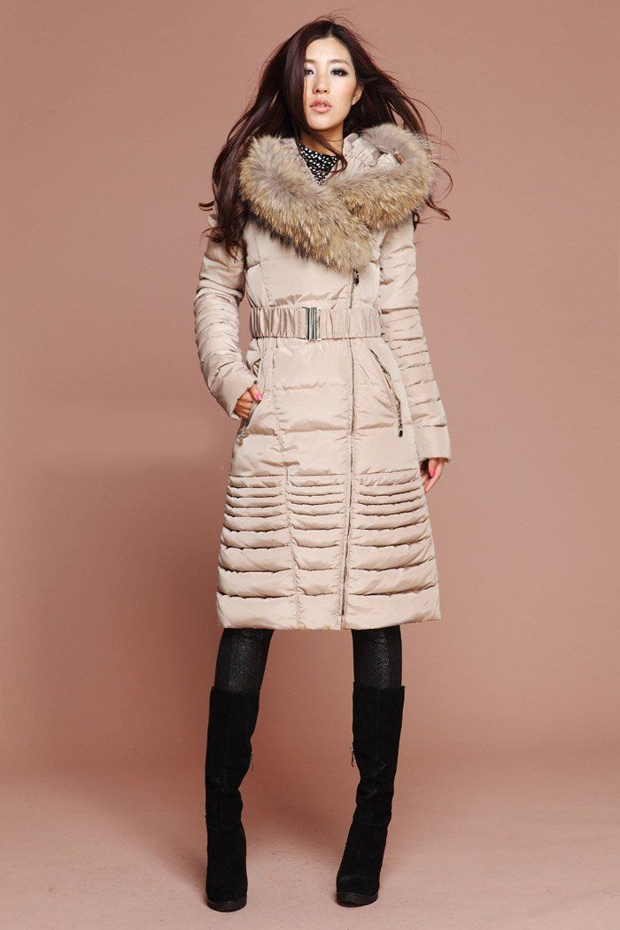 Fashion Women Detachable Real Fur Collar White Duck Down Coat