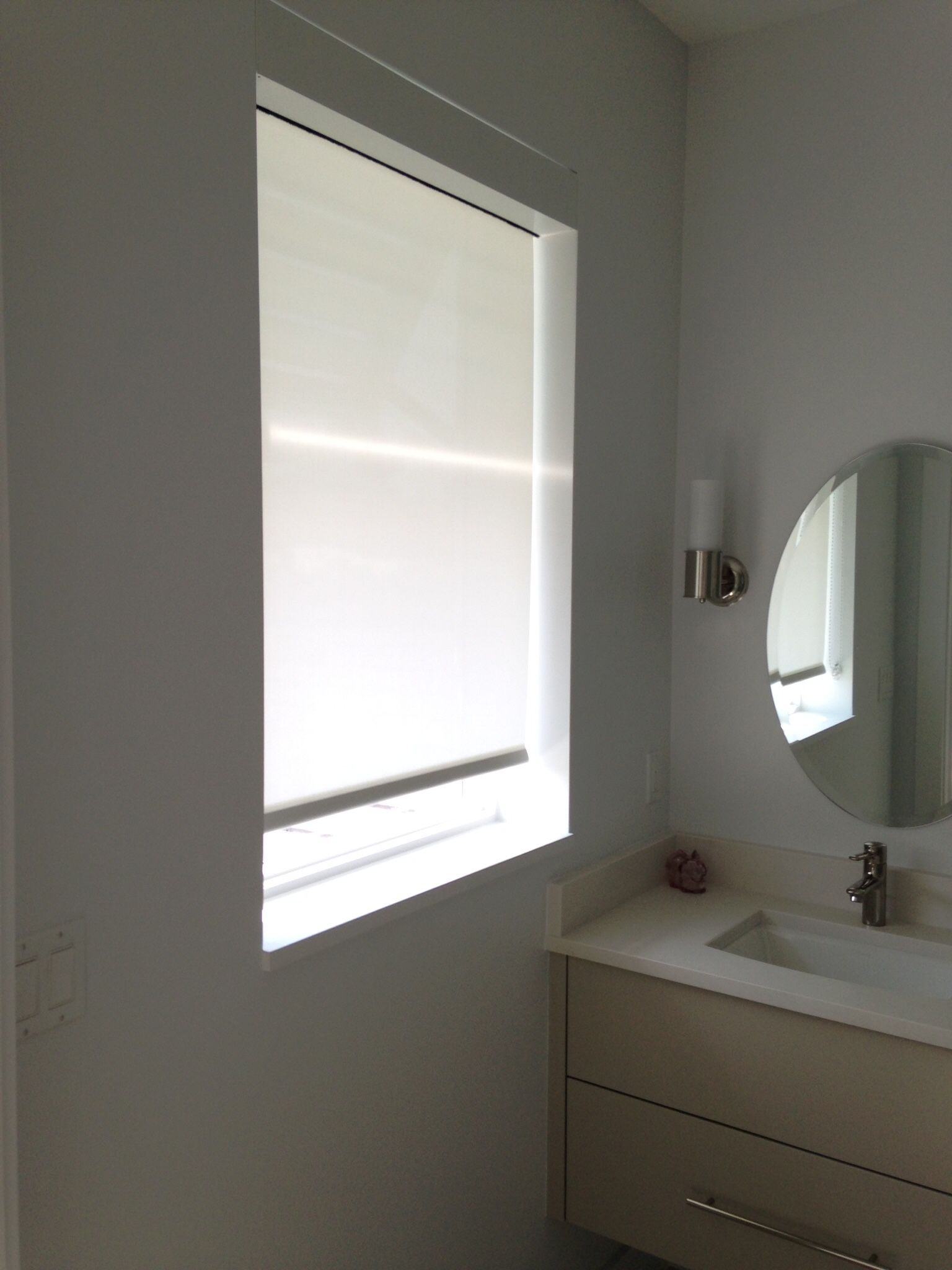 Motorized Shade In Bathroom Window