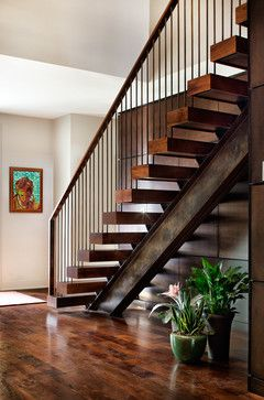 Solid Yet Elegant Open Stairs Rest On Industrial Looking Single   Metal And Wood Stairs   Straight   Diy   Residential   Rustic   Stair Railing