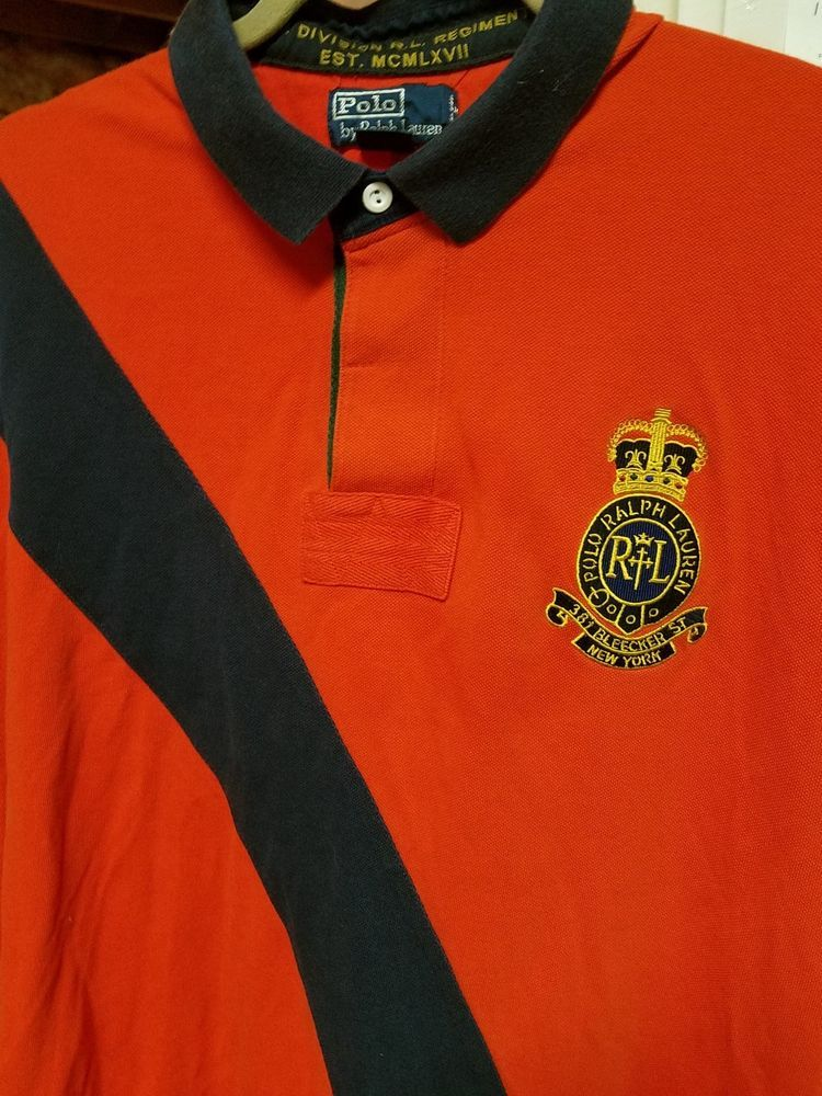 Vintage Polo Ralph Lauren Men S Xl Orange Blue S S Shirt 3 Sleeve