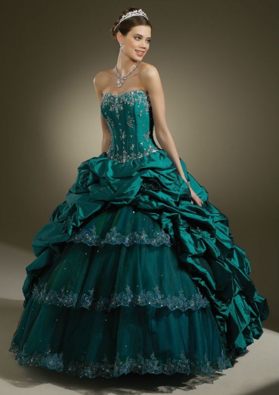 Ball Gown Jacket Ruching Layered Strapless Teal Green Quinceanera ...