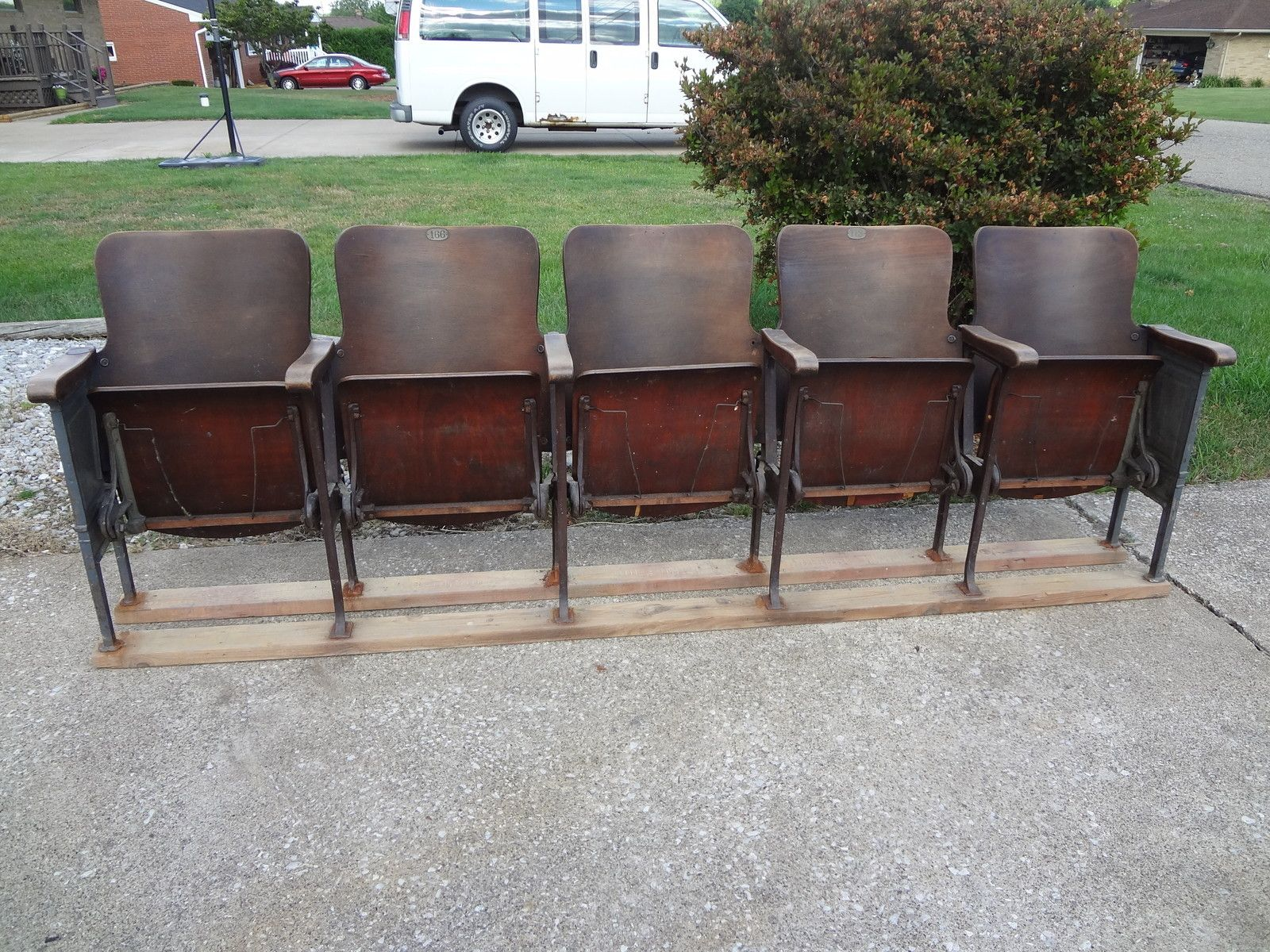 Vintage Movie Theatre Wood Seat Cast Iron Chair Auditorium