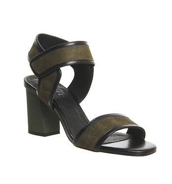 Office Fetch Block Heel Sandals Khaki Kid Suede - Mid Heels