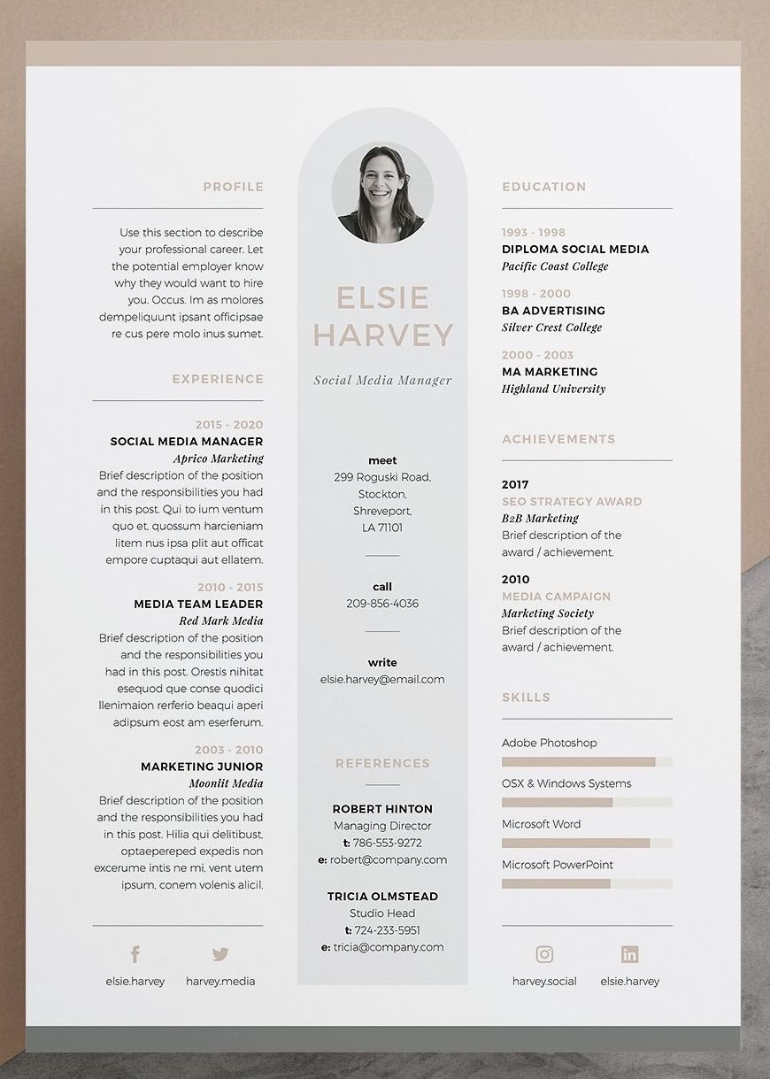resume    cv template - elsie