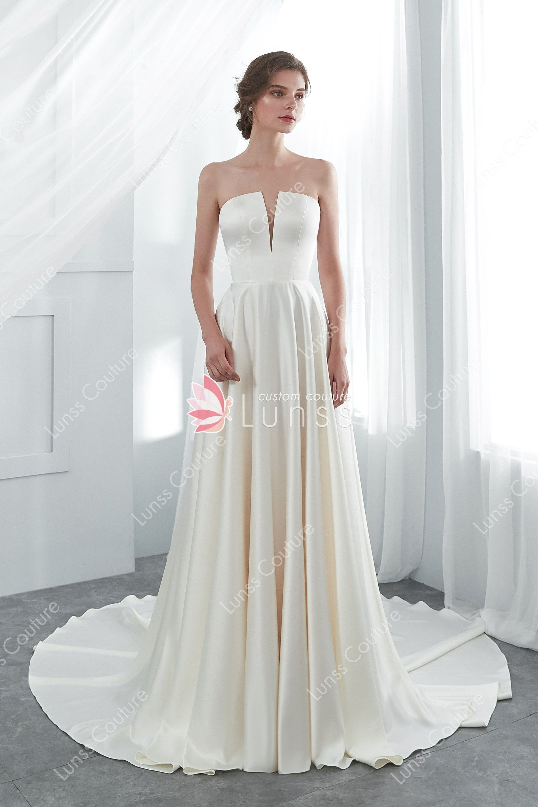 90377fca1b7 Cream Classic Strapless Long High End Satin Wedding Gown - Lunss Couture